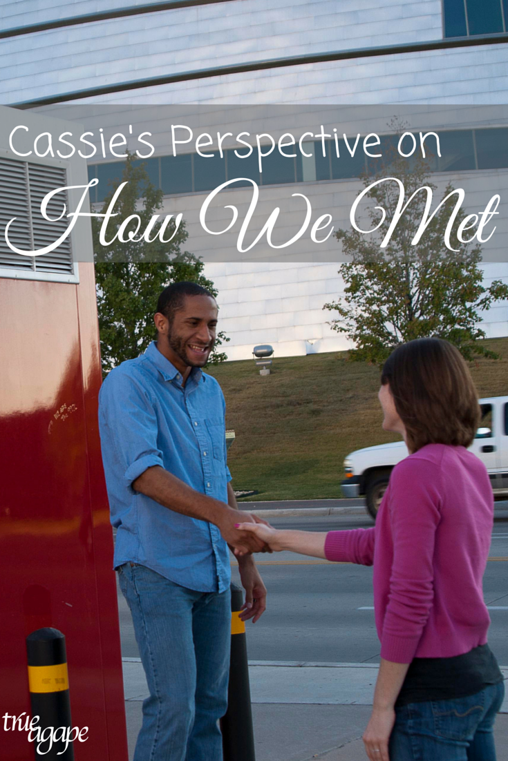 We both agree that we met at after a race, however we have different stories about how it happened. Check out Cassie's perspective on the meeting.