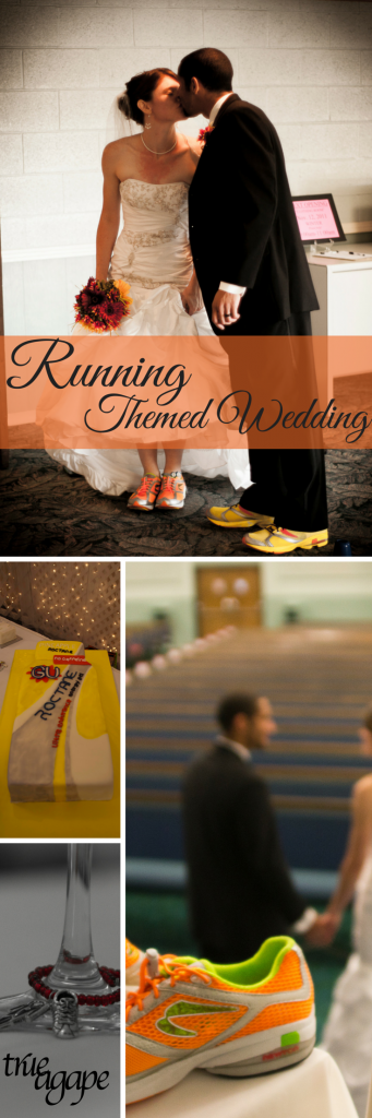 Great ideas for running themed wedding! Custom cake, toasting glasses, picture ideas and more.