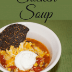 This chicken soup is quick and easy. It has a Mexican feel to it so just add some cheese and tortilla chips with it and you are good to go.