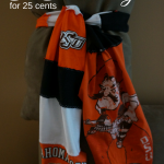 Sew different shirts together to make a scarf. Easy way to use all those tshirts.