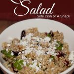 This quinoa salad is good as a starter, side or just a snack. It has a light sweet flavor to it.