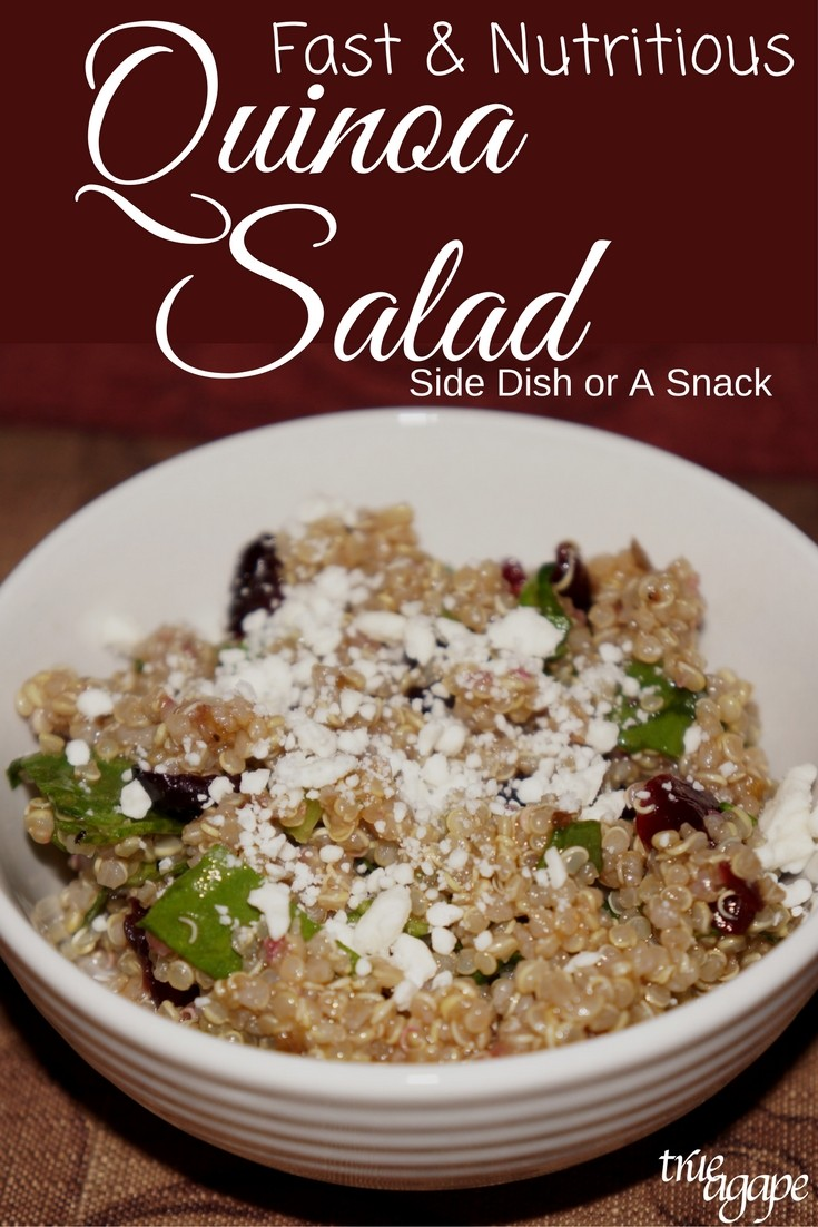 This fast nutritious quinoa salad recipe is good as a starter, side or just a snack. It has a light sweet flavor to it. Fix it up the next time you have extra quinoa in the fridge.