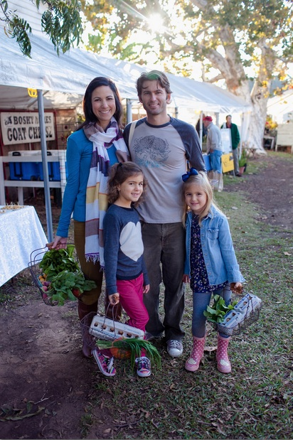 Leake family at farmers market