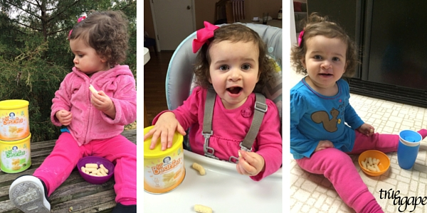 My toddlers favorite snack Gerber Lil Beanies and why I approve: Made with white beans and rice flour. No GMO's, preservatives, artificial colors or flavors.