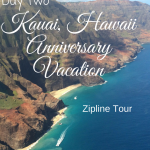 Day two of our Kauai Hawaii anniversary trip was just as great as the first. We went ziplining and had the best vegetarian meal I have ever had!""
