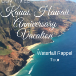 On day three of our Kauai Hawaii anniversary vacation we did an Island Adventure waterfall rappel tour!