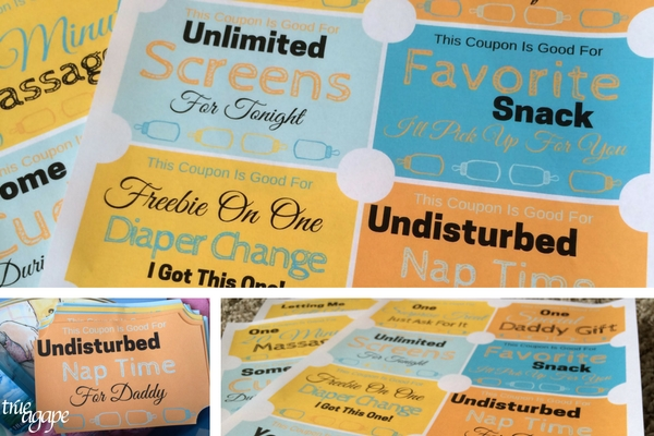 New Daddy Gift Basket Printables makes for an easy and meaningful gift for the new daddy. These coupons include the 5 Love Languages to personalize the gift even more.