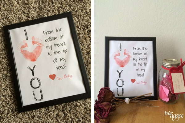 New Daddy Gift Basket Printables makes for an easy and meaningful gift for the new daddy. I love you poster with baby's foot prints.