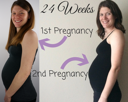 Comparing 6 month bump pictures from first pregnancy and second pregnancy