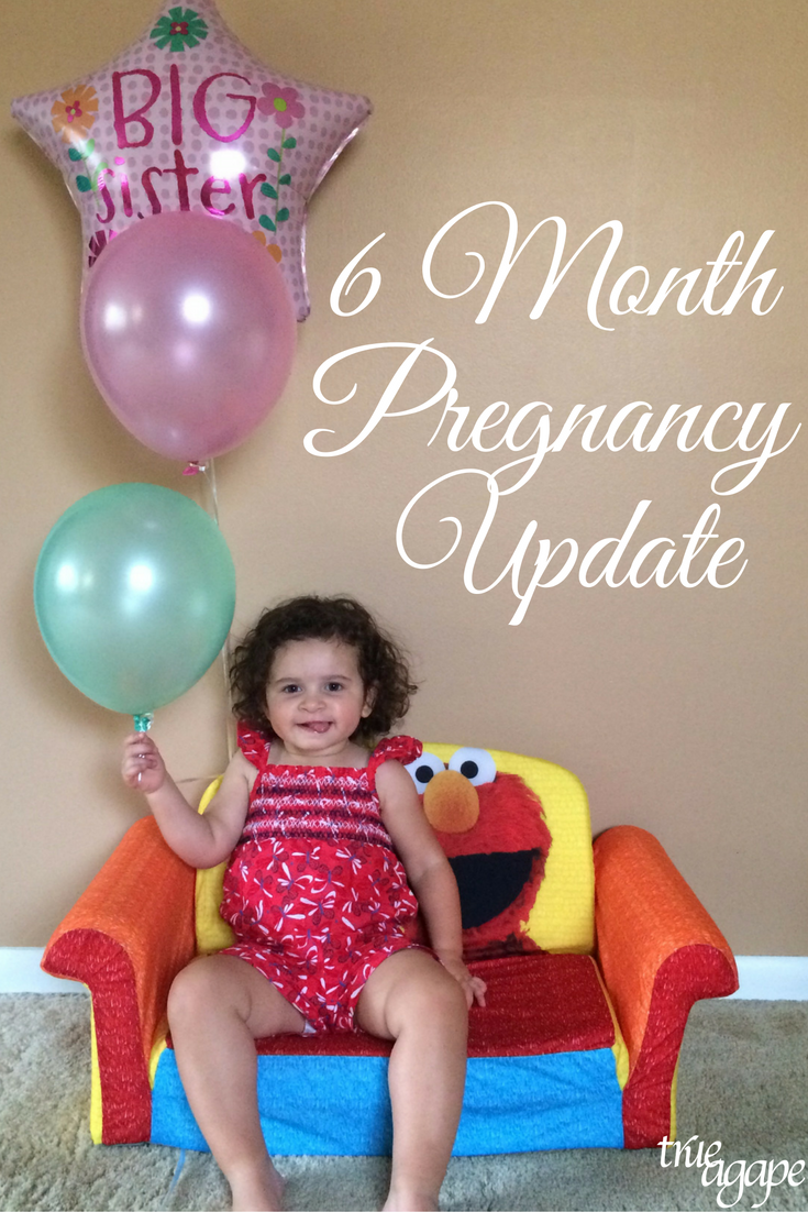 6 month pregnancy update with monthly bump pictures.