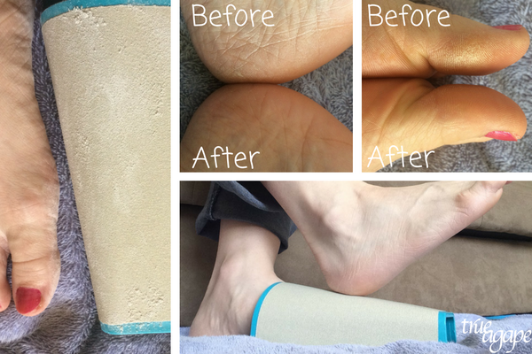 3 must haves for dry itch pregnancy skin- PediSand Hands Free Foot File