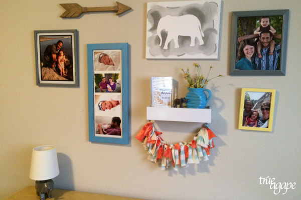 Elephant theme toddler room makeover - picture collage