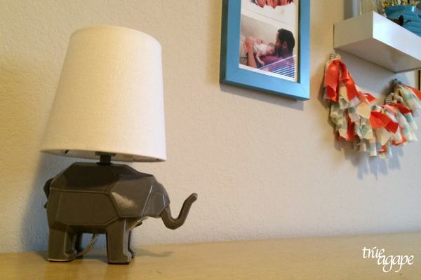 Elephant theme toddler room makeover - elephant lamp from Pottery Barn