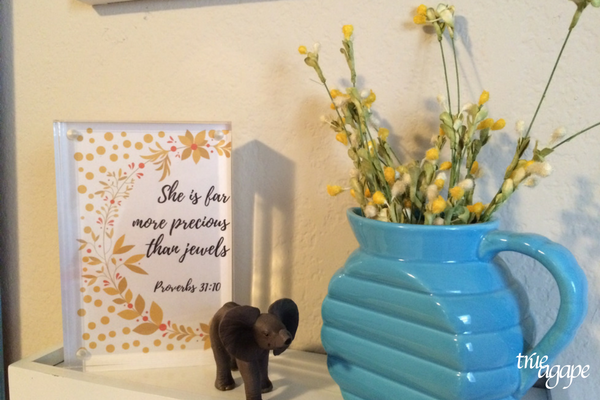 Elephant theme toddler room makeover - shelf in picture collage