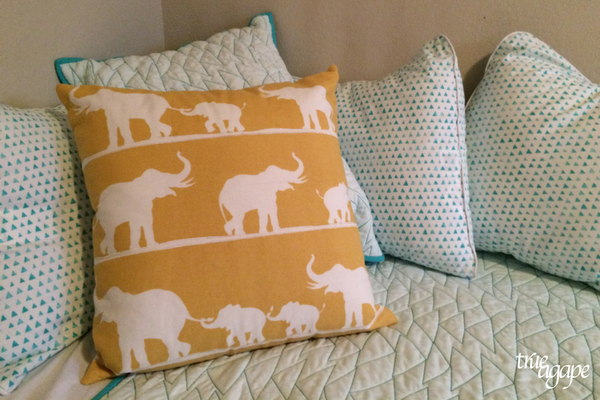 Elephant themed toddler room makeover- elephant pillow from Target