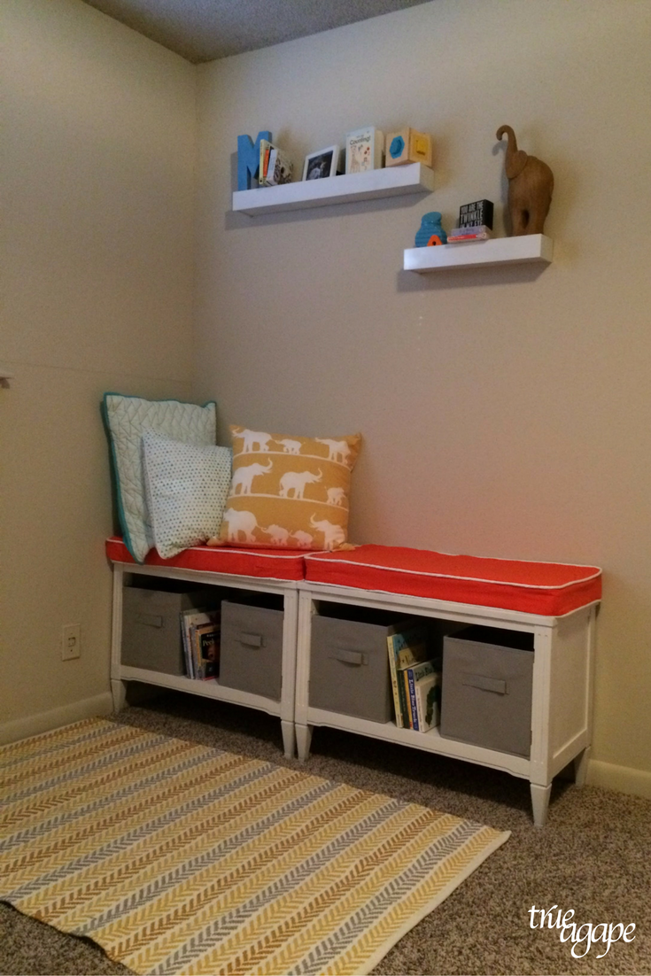 Elephant themed toddler room makeover - reading corner