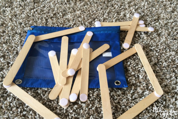 10 Toddler Busy Bags For Traveling- Velcro Popsicle sticks to build with