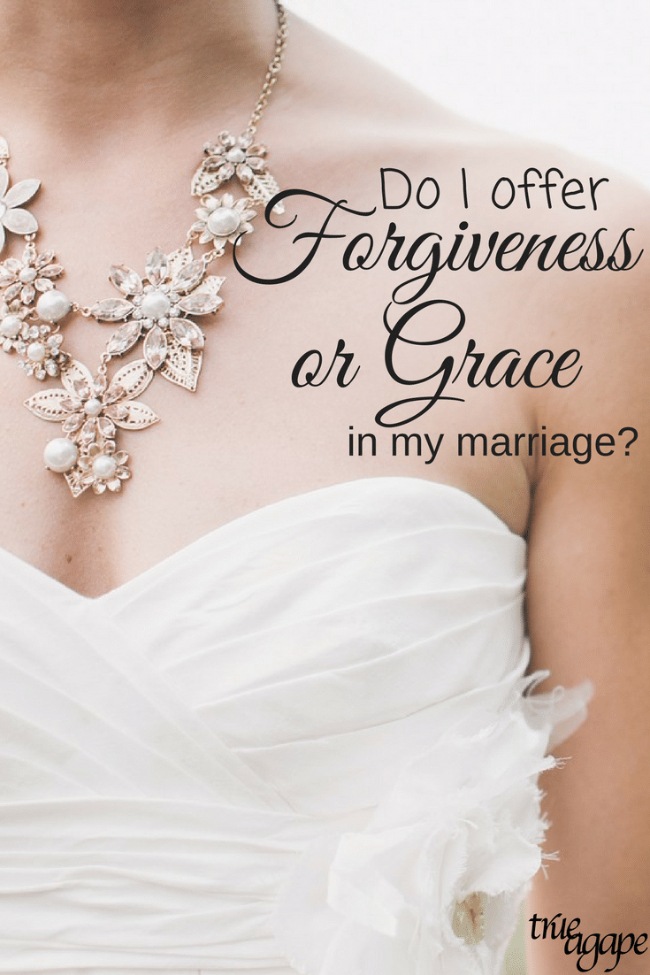"""Sometimes in marriage it is hard to know if we should offer forgiveness or grace. But Mark and Jill Savage show us in """"No More Perfect Marriages"""" how to choose."""