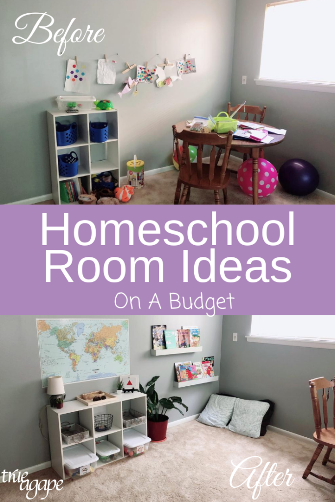 before and after of homeschool room