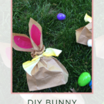 Brown paper lunch bag turned into bunny ear treat bag with ribbon
