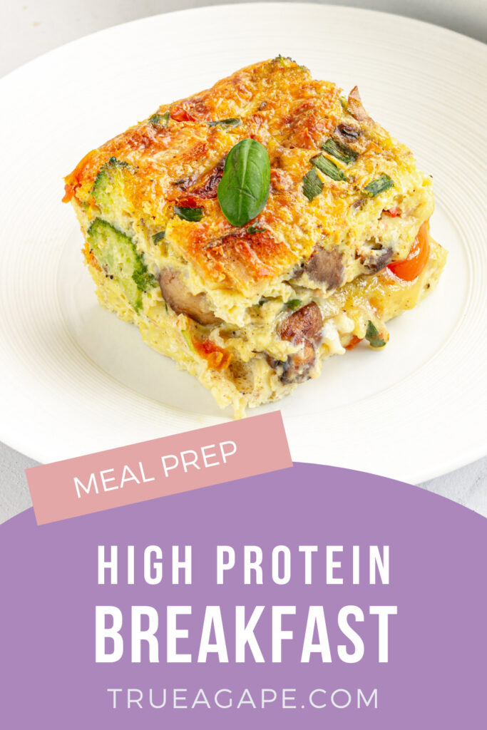 This Egg Casserole is a high protein breakfast meal prep you will be thankful you tried. Not only does it include cheap and nutritious ingrediants. It also has 30 grams of protein! Make it today or use it as a freezer meal and set yourself up for success.
